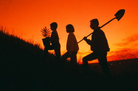 tree planting: Silhouette of family going to plant a tree Stock Photo