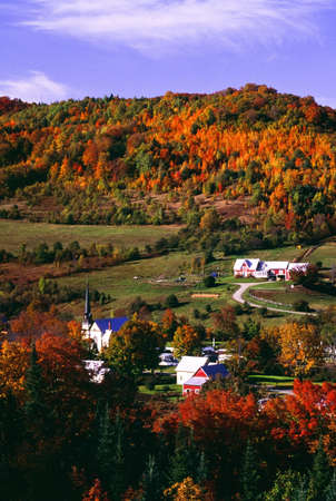 rural town: East Orange Village in fall, Vermont, New England, U.S.A.