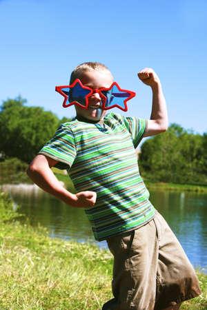 wacky: Boy wearing sunglasses Stock Photo