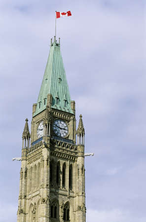 The clock tower of the centre block of the Canadian parliament buildings, Ottawa, Ontario, Canada photo