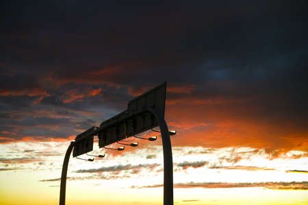 Traffic signs at night photo