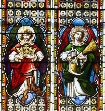 windows frame: Stained glass in a church Stock Photo