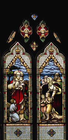 Stained glass windows, Qu&Atilde,&copy,bec, Canada Stock Photo