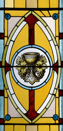 windows frame: Stained glass window, church,  Quebec, Canada