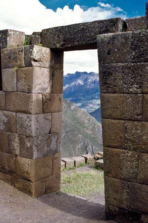 incan: Sacred Valley of the Incas, Peru, South America, stone doorway Stock Photo