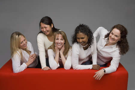 friendship women: Group of female friends Stock Photo