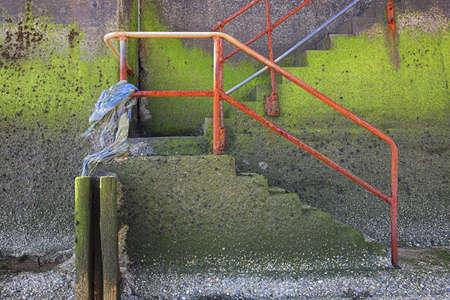 chris upton: Beach steps,Sandsend,Yorkshire,England Stock Photo