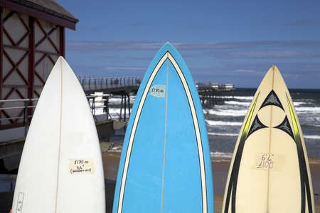 chris upton: Surfboards for sale,Saltburn,England   Stock Photo