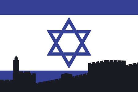 compilations: Israeli Flag with Jerusalem silhouette