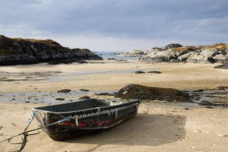 moored: A boat on the beach,Ardtoe,Highland,Scotland
