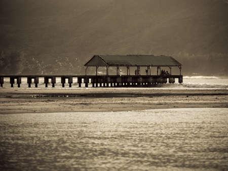 sepias: Covered pier,Kaui,Hawaii