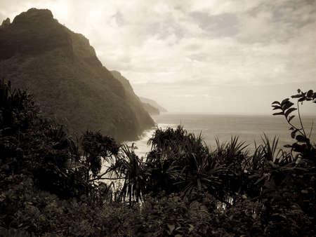 sepias: Napali Coast State Park,Kauai,Hawaii Stock Photo