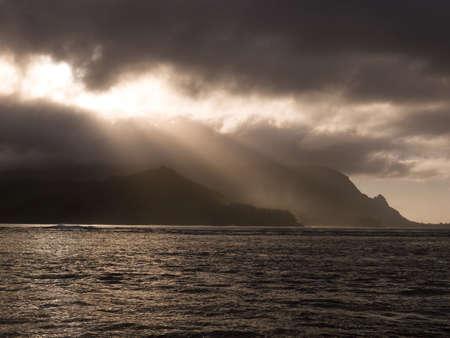 sepias: Storm clouds,Hanalei Bay,Kauai,Hawaii