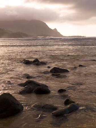 sepias: Rocks in the water,Hanalei Bay,Kauai,Hawaii