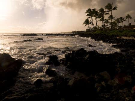 sepias: Rocky coastline,Poipu,Kauai,Hawaii