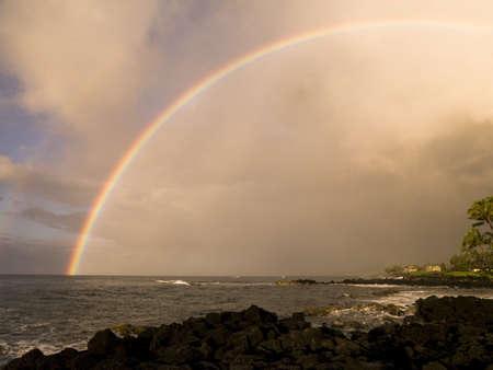 atmospheric phenomena: A rainbow,Poipu,Kauai,Hawaii Stock Photo