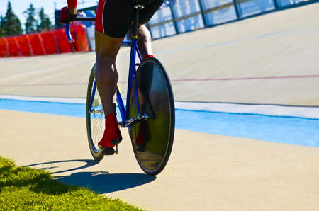 something athletic: Biker on a track Stock Photo