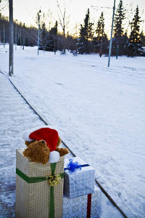 Christmas presents beside a snow-covered road Stock Photo - 7209113