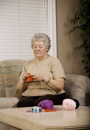 sixty something: Woman knitting