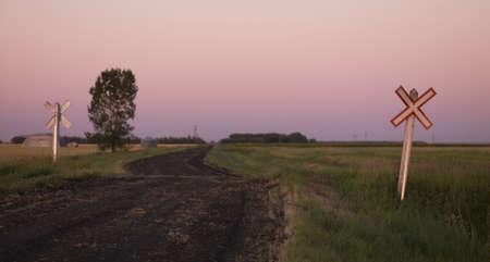 panoramics: Railroad crossing Stock Photo