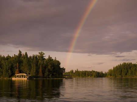 Lake of the Woods,Ontario,Canada,Rainbow over the lake photo
