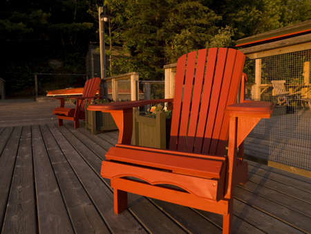 Adirondack chairs on a dock,Lake of the Woods,Ontario,Canada