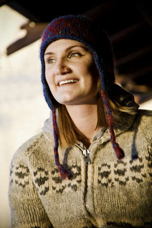 40 something: Woman wearing toque and sweater