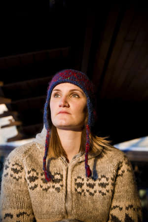 toque: Woman wearing toque and sweater