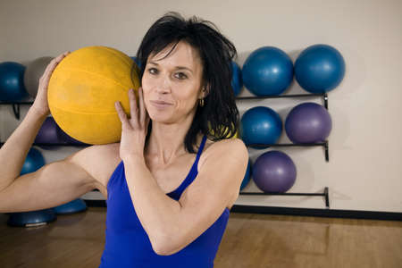 something athletic: Woman with an exercise ball