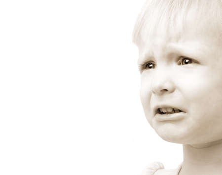 whining: Child with sad face Stock Photo