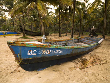 skiff: Boat on shore, Arabian Sea, Kerala, India