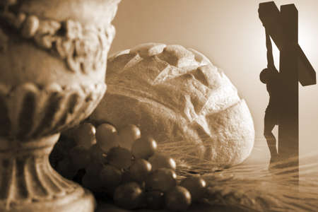 holy eucharist: Communion and crucifixion symbols