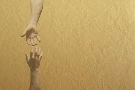 mano de dios: Dos manos alcanzando uno hacia el otro