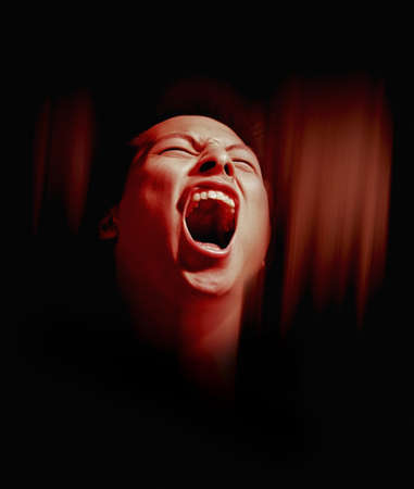 antagonistic: Man screaming Stock Photo
