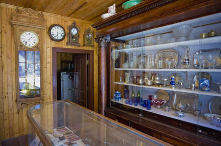 architectural interiors: Clock,glass and silverware shop,Fort Edmonton,Alberta,Canada Stock Photo