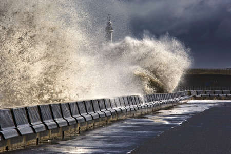 Waves crushing against barrier,Sunderland,Tyne and Wear,England photo