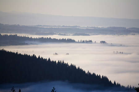 tuttle: View of fog-covered Willamette Valley from Mt. Scott,Oregon,USA Stock Photo