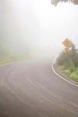 Foggy road,Mount Rainier National Park,Washington,USA photo