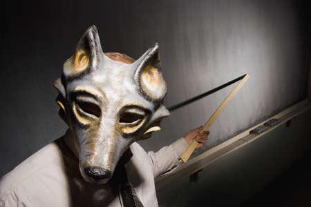 Leraar draagt ??een masker