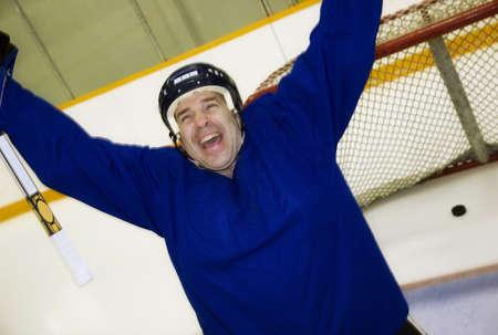 Hockey player celebrating a goal Stock Photo