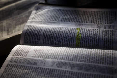 Open Bible with markings Stock Photo - 7205626