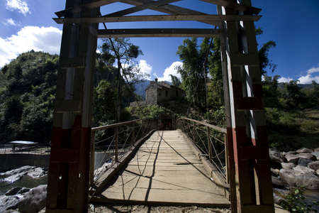 A footbridge in Sapa,Vietnam Stock Photo