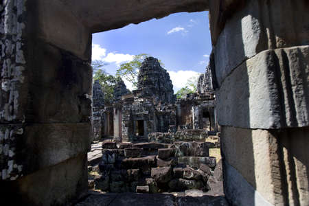 A temple in the ancient city of Angkor Wat,in Northwestern Cambodia