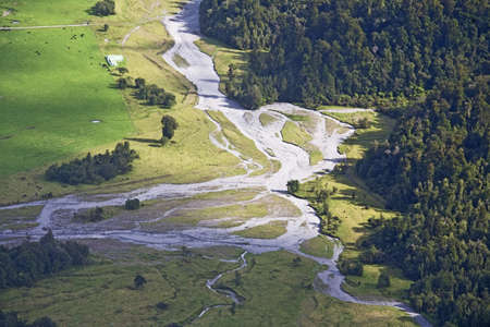 arial views: The countryside in New Zealand Stock Photo