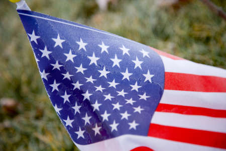 craig tuttle: Closeup frost on American flag   Stock Photo