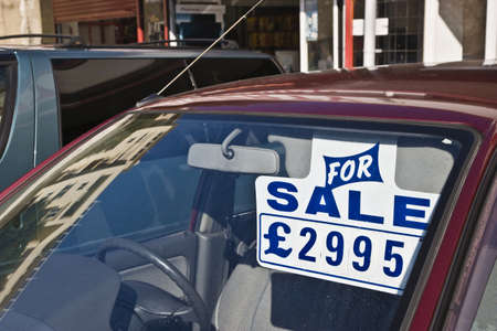 motorcars: Car for sale,Sterling pounds   Stock Photo