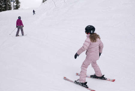 wintersport: Girl downhill skiing,Whistler,BC,Canada
