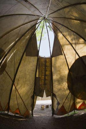 pattered: Fort Edmonton,Alberta,Canada,inside a teepee