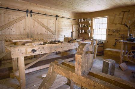 フォート エドモントン, アルバータ, カナダ、古い木工教室