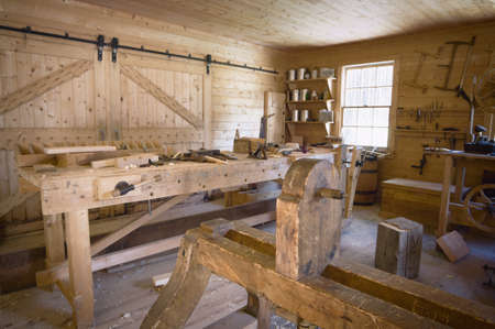 indoors: Fort Edmonton,Alberta,Canada,old woodworking workshop